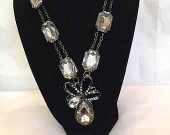 Smokey Crystal Tear Drop Necklace