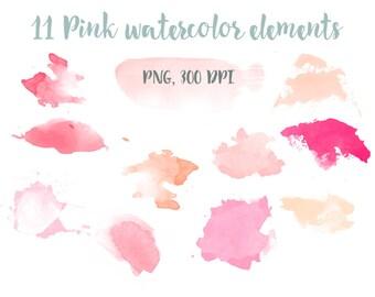 11 pink watercolor elements, watercolor clip art