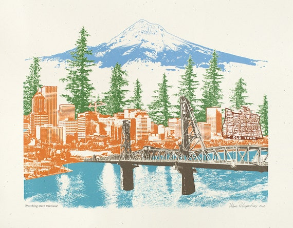"Portland, Oregon Art Print - Skyline and Landmarks - ""Watching Over Portland"" - 8.5x11, 11x14, and 16x20 Poster"