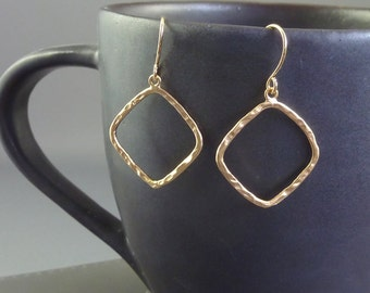 Hip to be Square. Gold Square Hoop Earrings. 16k gold plated. modern. minimal. small. delicate. everyday.