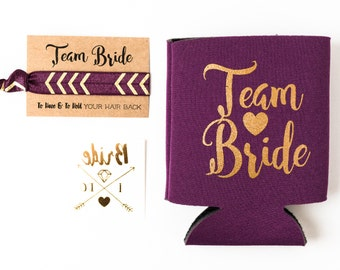 Purple + Gold Team Bride Bachelorette Gift Set | Metallic Gold Tattoo, Hair Tie + Drink Cooler | Bachelorette Party Favor