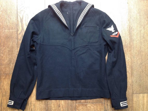 "Vintage 1940s 40s 1950s 50s black USN US navy crackerjack top jumper sailor rockabilly 42"" chest"