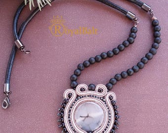 Handmade natural stone soutache necklace