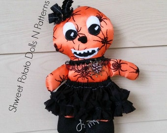 Primitive, Gothic, Pumpkin Girl  Cloth Doll, Art Doll, Halloween, Fall Doll, Spider Witch