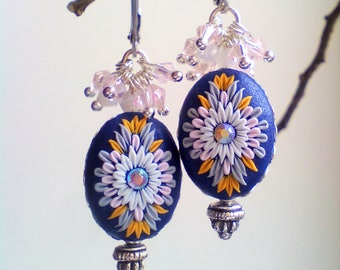 Lovely embroidered drop earrings, Gift for her, flowers earrings, Polymer embroidery earrings,