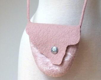 Small Felted Crossbody Bag, Blush Pink Crossbody Purse, Wool Evening Shoulder Bag