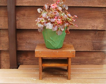 Wooden Stool, Vintage Step Stool, Stained Foot Stool, Heavy Wooden Bench, Handmade Step Stool