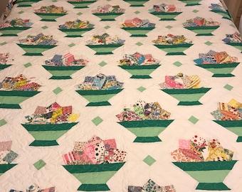 Vintage feed sack flower basket queen size quilt