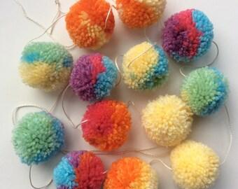 Pastel Rainbow Wool Pom Pom  Garland