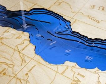 "MALAWI, Africa 12""x 24"", 3D bathymetry-topographic / Wood Lake Art Map"
