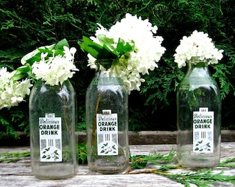 Trio Vintage Glass Quart Bottles Lot of 3 • Green Logo • Milk Bottle Minnesota Dairy • Crafts • Vases • Photo Shoots • Bridal