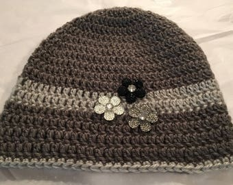 Gray and Silver Beanie Hat with Sparkly Flower Buttons (Black, Gray, and Silver)