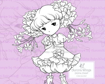 PNG Shamrock Sprite - Aurora Wings Digital Stamp - St. Patrick's Day Fairy - Fantasy Line Art for Coloring and Cards by Mitzi Sato-Wiuff
