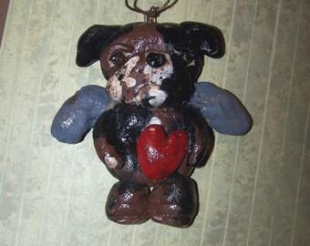 Folk Art English Bulldog Angel Ornament Ornie Doll