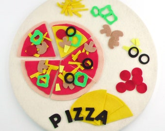 Felt Pizza Toy, Pre school Quiet Activity, Fine Motor Toy, Learning Letters, Early Learning Toy, Travel Toy, Felt Quiet Activity, Waldorf