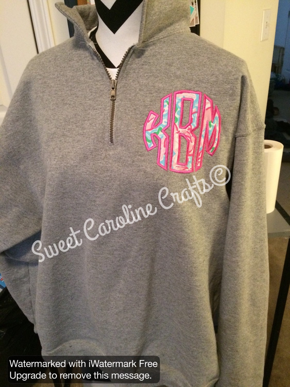 lilly pulitzer applique monogrammed quarter zip sweatshirt