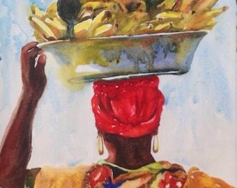 Woman, local vendor, market place, island fruit, island market, tropical market, tropical fruit
