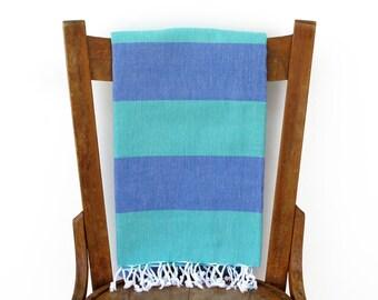 Hammam Towel Turkish Towel Fouta Large Turkish Beach Towel Bath Sheet Yoga Blanket Throw Sarong Pareo Blue Green SEASIDE PESHTEMAL