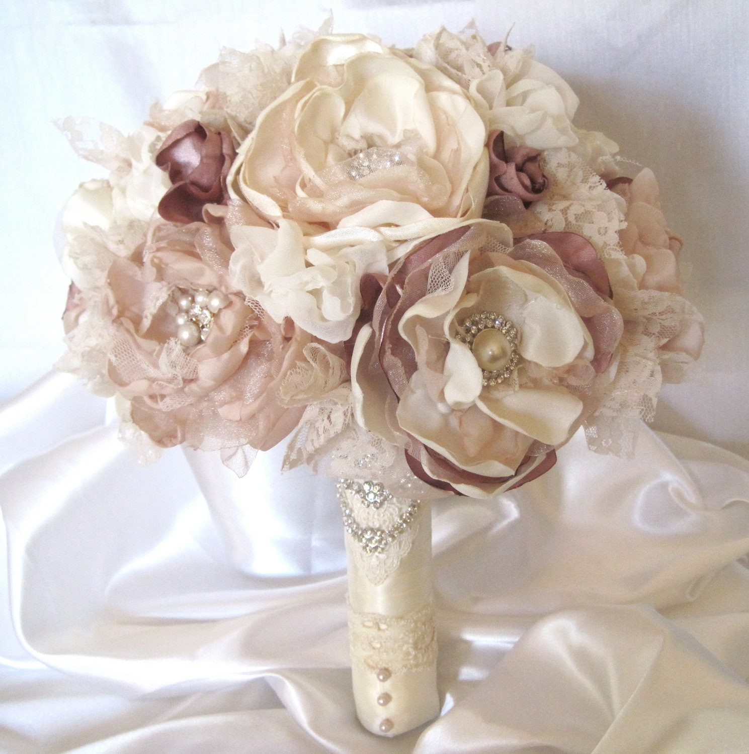 Wedding Bouquet Fabric Flower Vintage Inspired Brooch Bouquet