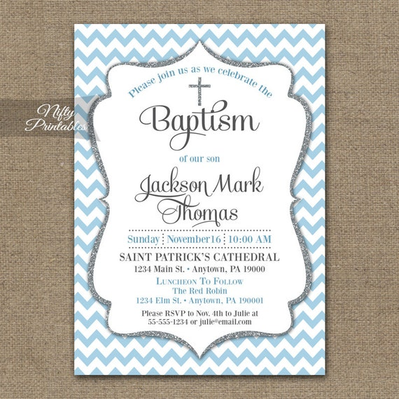 Blue Baptism Invitations Printable Baby Blue Chevron Baptism