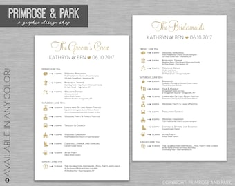 Bridal Party Timelines • Wedding Party Timelines and Welcome Letter • Wedding Schedule • Bridal Party • Wedding Party Itinerary