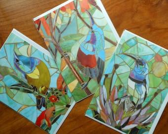 Set of Cards - 3 Different Sunbird Greetings Cards - Card Set - Hummingbird Cards - Greeting Card Set - Mosaic Birds - Tropical Bird Art