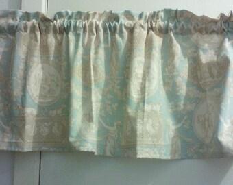 Window Curtain Valance Cosmopolitan Toile color Blue