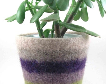 Wool felted planter - striped plant pot - wool planter - oyster, oatmeal, plum, wisteria, avocado and eucalyptus