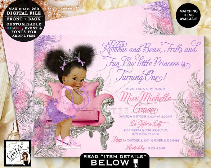 "Pink and Purple Birthday Invitations, Princess First Birthday, African American Baby Girl Vintage, Tiara bows tutus pearls 7x5"" Gvites"