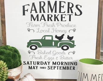 Farmers Market Sign/wood sign/Farmhouse/farmhouse signs/framed signs/vintage truck sign/roosters
