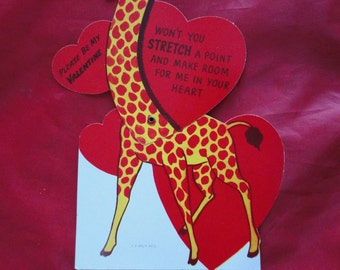 Vintage Large Mechanical Giraffe Valentine Day Card Made by ACG Unused