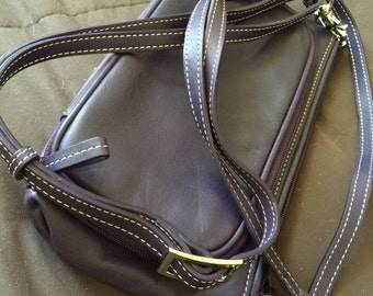 Designer Levinger Leather Deep Purple Bag Purse Cross Body