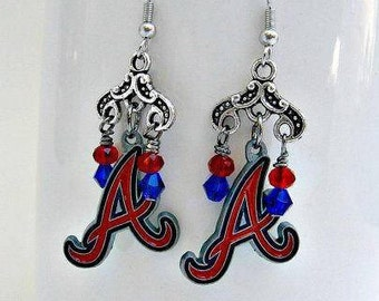 Atlanta Braves Earrings, Baseball Jewelry, Atlanta Braves Accessories, Baseball Earrings, Atlanta Braves Jewelry, Sports Jewelry, Braves