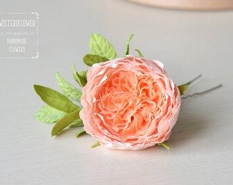 Peach Rose hair pin Peach flower jewellery Peach Wedding Flowers gift Bohemian wedding Hair accessories Boho chic Bride gift Romantic gift