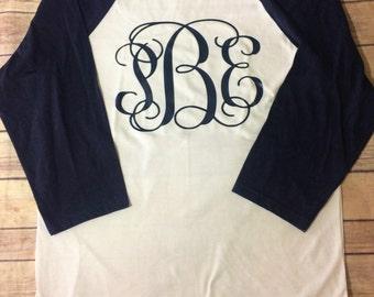 Big Monogram Top - Large Monogram - Preppy Monogram - Monogram Raglan - Monogram Baseball Shirt - Large Monogram Shirt - Ladies Top