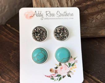 12mm silver  and turquoise druzy stud set, druzy studs, druzy earrings, rose gold druzy, turquoise earrings, new stockist special