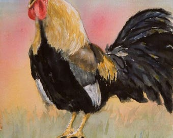 Crowing Rooster - original watercolor, barnyard rooster, kitchen art, chickens