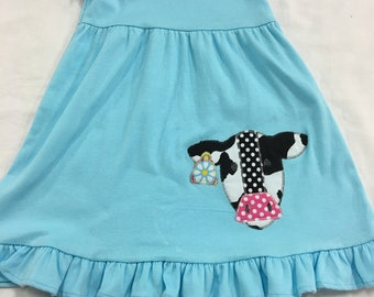 3t girl's short sleeve ruffle dress with cow