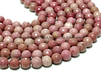 """GUB-2776-5 - Rhodonite Faceted Round Beads - 14mm - 16"""" Strand"""