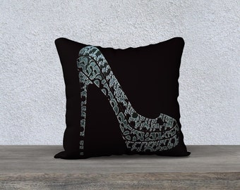 Pillowcase, gift for shoe lovers, Shoe design throw pillow, fabulous shoes designer throw pillow covers by Felicianation Ink