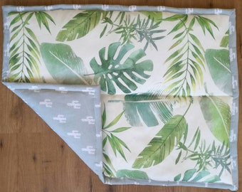 Baby play mat - watercolor botanical jungle leaves - green and light blue
