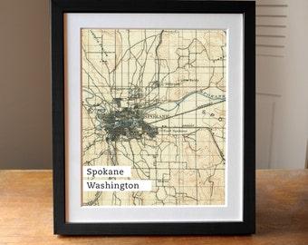 Spokane Map Art, Washington State Old Map, Antique Spokane Map, Map Print, Washington State
