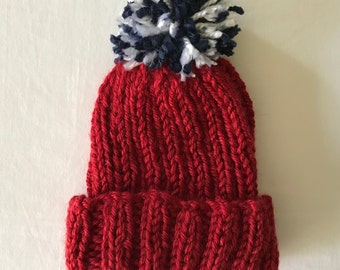 Red Baby Hat with Blue and White PomPom