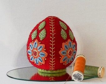 Handmade Felted Wool Red Floral Easter Egg Pincushion