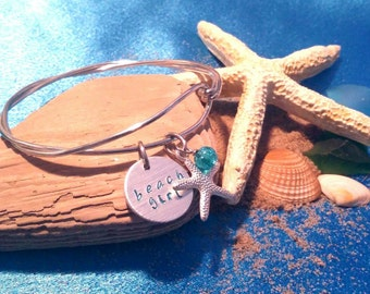 Beach Bracelet, Beach Girl, Vacation Bracelet, Starfish Charm Bracelet