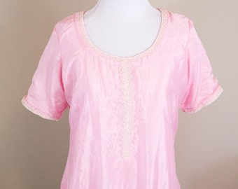 60s Pink Vintage Nightgown -  S/M - Lace Floral Trim - 60s Nightgown - Retro Nightgown - Vintage Lingerie - Gifts for Her - Vintage Gift
