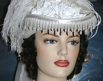 Kentucky Derby Hat Victorian Hat SASS Hat Wedding Hat Tea Party Hat Women's White Hat - Spirit of Alexandria - Women's Western Hat