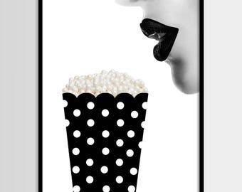 Chanel drucken, moderne print, Mode Kunst, tupfen, minimalistisch, digitale Kunst, Pop corn, Printable, Digital print sofortigen Download 11 x 14, 16 x 20