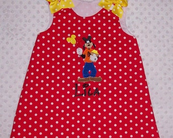 Goofy Going on Vacation Applique Monogram Red Polka Dot A-line Dress -Goofy birthday party dress - school dress - pre-k dresss