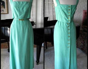 MOD Mollie Parnis Maxi Dress / Mollie Parnis Vintage Dress / Mollie Parnis Boutique Gown / Mod Mint Green Gown / fits S-M / Green Silk Gown